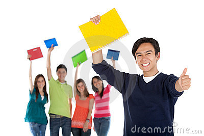 Happy student with a group