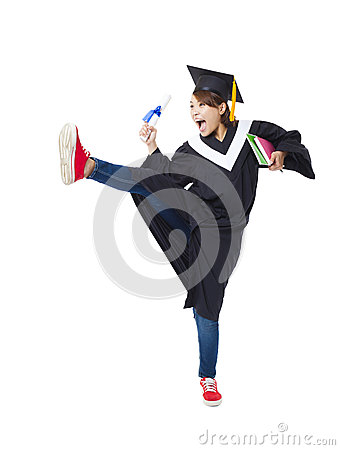 Free Happy  Student In Graduate Robe Dancing Stock Photo - 51209950
