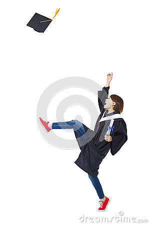 Free Happy Student In Graduate Robe Dancing Royalty Free Stock Photography - 51209967