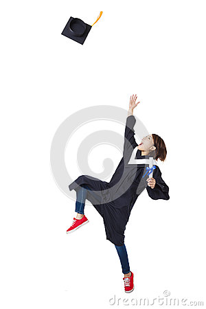 Free Happy  Student In Graduate Robe Dancing Stock Photo - 51209980