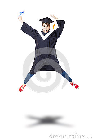 Free Happy  Student In Graduate Robe Jumping Against White Back Royalty Free Stock Photography - 51209937