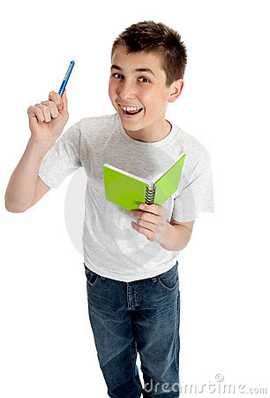 Happy Student With Pen And Book Royalty Free Stock Photo - Image: 12839225