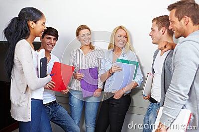 Happy students having a break