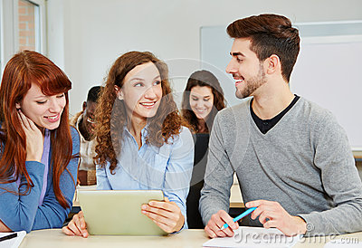 Students with tablet computer