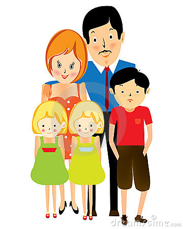 Happy suburban family, cartoon