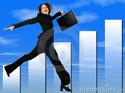 Happy Successful Business Woman Jumping and Smiling