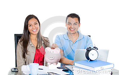 Happy, successful couple planning for future financial success
