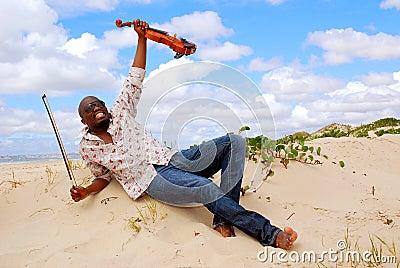 Happy successful musician