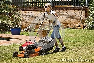 Happy Summer Chores - Mowing Lawn
