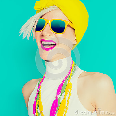 Free Happy Summer Girl In Trendy Bright Accessories Stock Image - 51865441