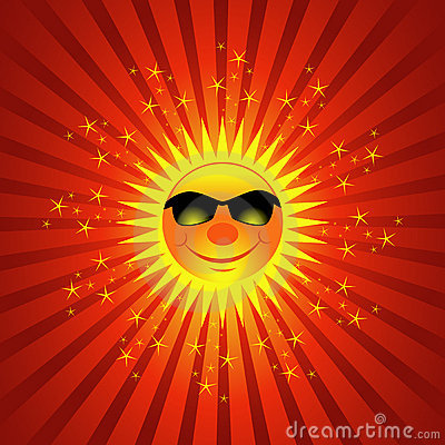 Happy Summer Sun Burst Background