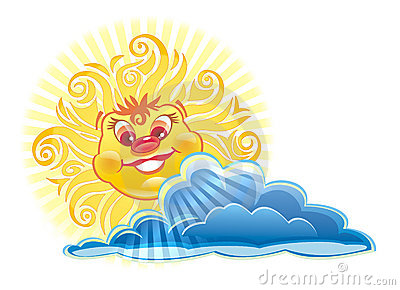 Happy Sun behind a cloud