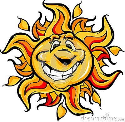 Happy Sun Cartoon with a Big Smile
