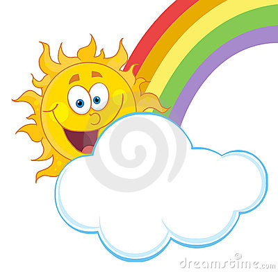 Happy sun with a cloud and rainbow