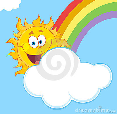 Happy sun with a cloud and rainbow in a blue sky