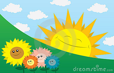Happy Sun with Flowers