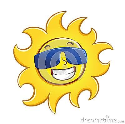 Happy Sun Wearing Glasses Stock Vector - Image: 48207810