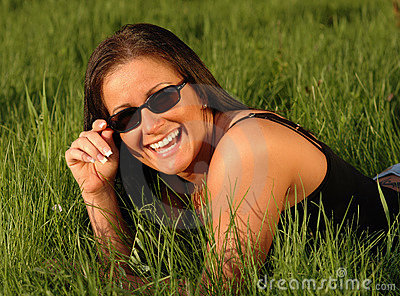 Happy sunglasses woman