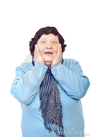 Happy surprised elderly woman