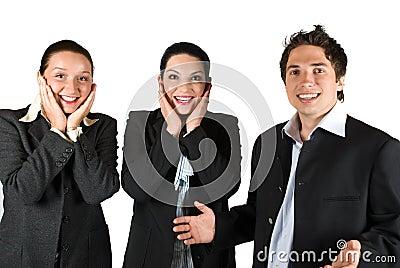 Happy surprised people team