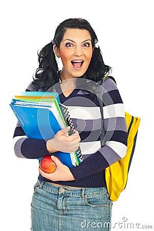 Happy surprised student woman