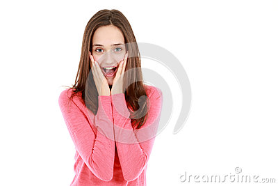Happy surprised teen girl