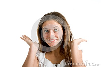 A happy and surprised woman