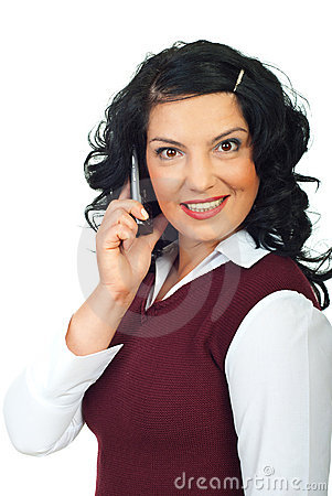 Happy surprised woman on phone mobile