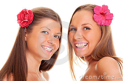 Happy tanned girls