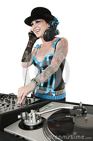 Free Happy Tattooed DJ Over White Background Royalty Free Stock Photography - 29674397