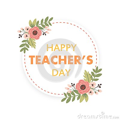 Free Happy Teacher`s Day Layout Design With Flower Card Stock Images - 124465144