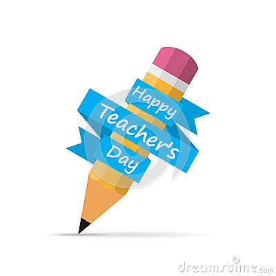 Free Happy Teachers Day Banner With Pencil. Vector Illustration. Stock Photo - 114508980