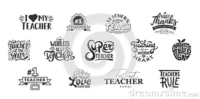 Happy teachers day lettering and typography quote. World best teacher badges for gift, design holiday cards and print. Vector Illustration