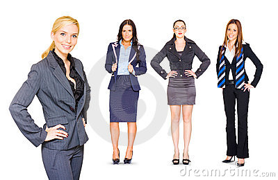 Happy Team Of Business People Isolated Over White