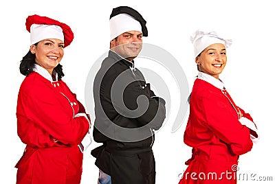 Happy team of chefs