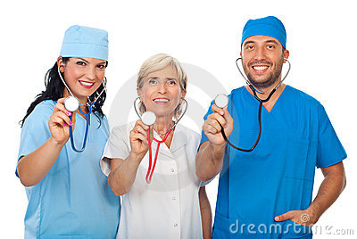 Happy team of doctors with stethoscopes