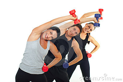 Happy team workout with dumbbell