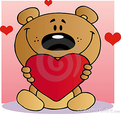To 1089385 clipart teddy bear holding a valentine heart over a pink
