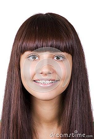 Happy teen with braces.