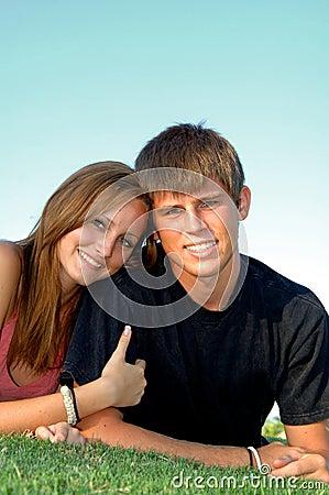 Happy teen couple