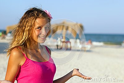 Happy teen girl on the beach