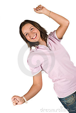 Happy teen girl with hands up