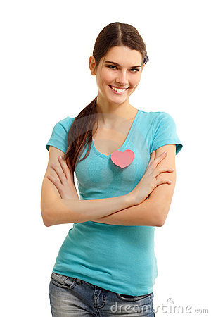 Happy teen girl with heart love symbol valentine