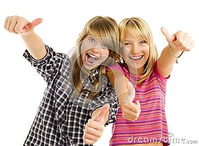 Happy teen girls