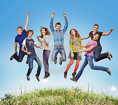 Free Happy Teen Jumpers Royalty Free Stock Image - 34466116