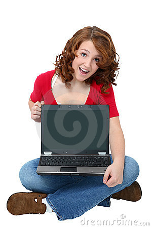 Happy Teen with Laptop