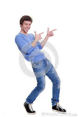 Happy teen pointing