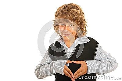 Happy teen shape heart