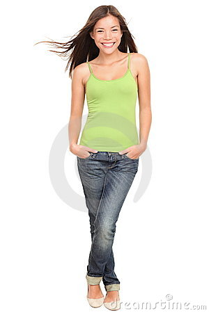 Free Happy Teen Student Full Body On White Background Stock Images - 21941644