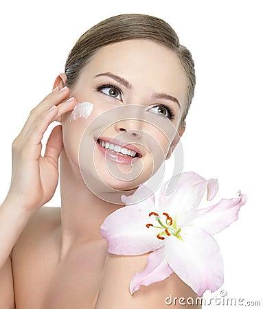 Free Happy Teen With Flower Applying Cream Stock Photos - 19045813